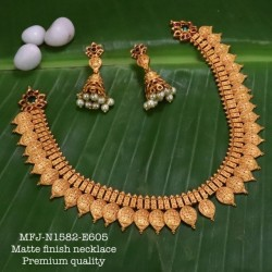 Ruby Stoned With Golden Balls lakshmi With Peacock Design Matte Plated Finished Haram Set Buy Online