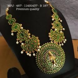 Ruby&Emerald Stones With Pearls Drops Lakshmi&Mango Design Mat Finish Hip Belt Buy Online