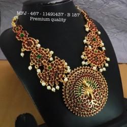 Ruby&Emerald Stones With Pearls Drops Flower&Mango Design Mat Finish Hip Belt Buy Online