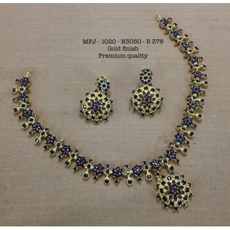 Blue Stones Peacock With Jumki Design Mat Finish Pendant Set Buy Online