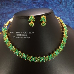 Ruby,Emerald Stones With Golden Ball Double Peacock With Screw Type Earrings Design Mat Finish Pendant Set Buy Online