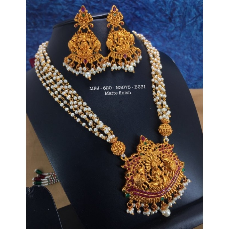 CZ,Ruby Stoned With Pearls Peacock Design Matte&Gold Plated Finished Neck Set Buy Online