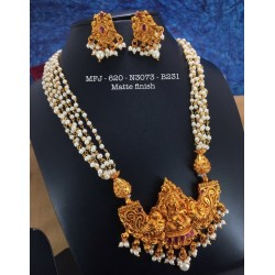 CZ,Ruby&Emerald Stoned With Pearls Peacock With Flower Design Matte&Gold Plated Finished Neck Set Buy Online