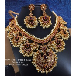 CZ,Ruby Stoned With Pearls Peacock With Lakshmi Two Layer Design Matte&Gold Plated Finished Neck Set Buy Online