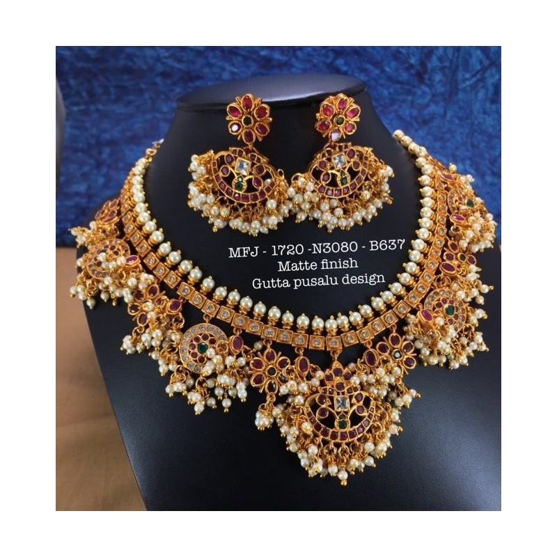 CZ,Ruby&Emerald Stoned With Pearls Peacock Design Matte&Gold Plated Finished Neck Set Buy Online
