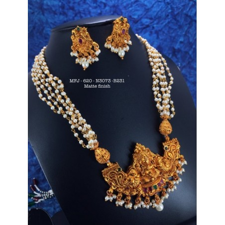 CZ,Ruby&Emerald Stoned With Pearls Peacock With Leafs Design Matte&Gold Plated Finished Neck Set Buy Online