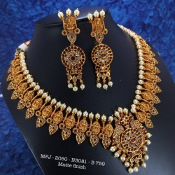 CZ,Ruby&Emerald Stoned With Pearls Double Peacock With Leafs Design Matte&Gold Plated Finished Neck Set Buy Online