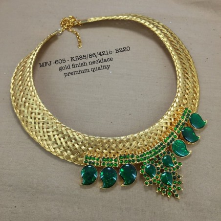 CZ,Ruby&Emerald Stoned With Pearls Peacock With Three Lined Gold Balls Chain Design Matte Plated Finished Haram Set Buy Online