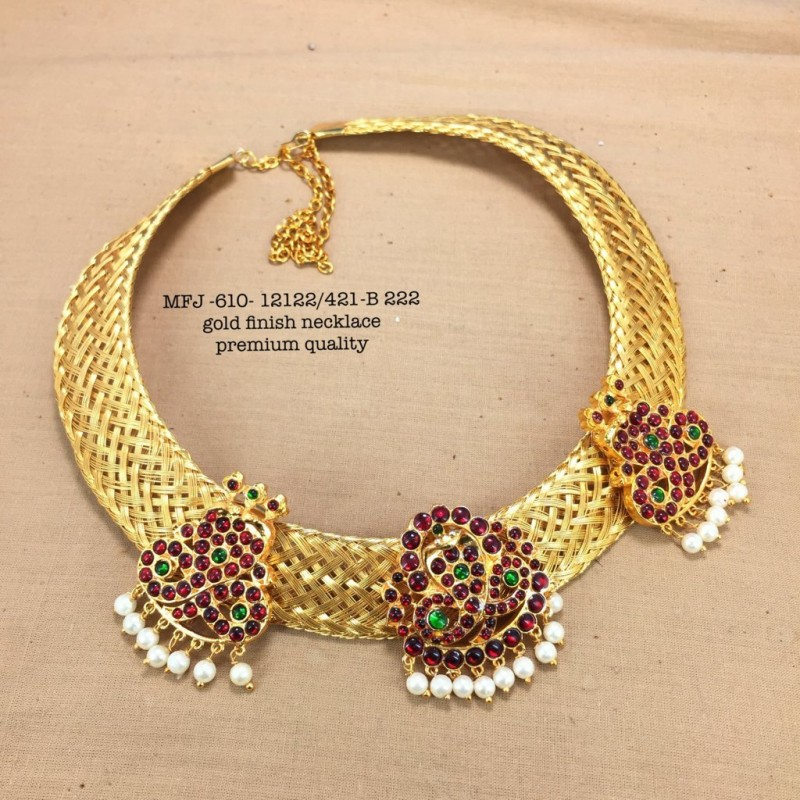 Enamel CZ,Green Stones  Design Necklace For Bharatanatyam Dance And Temple Buy Online