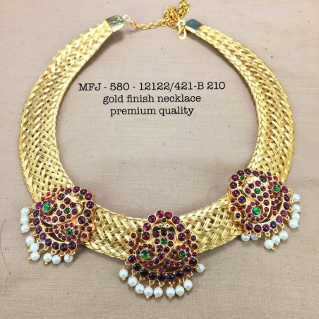 Ruby Stoned Mango Design Matte Plated Finished Neck Set Buy Online