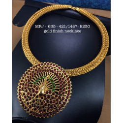 Kempu Red,Green Enamle Stones With Pearls Tred With Mango Design Necklace For Bharatanatyam Dance And Temple Buy Online
