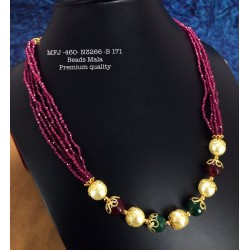 Green  Stones With Pearls Flower Design Necklace For Bharatanatyam Dance And Temple Buy Online