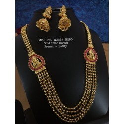 Blue,Wight Stones Flower And Mangp Design Necklace For Bharatanatyam Dance And Temple Buy Online