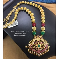 Red,Green Stones Design Necklace For Bharatanatyam Dance And Temple Buy Online