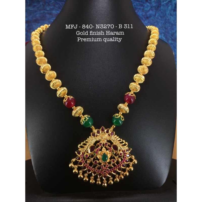 Green Stones With Pearls Design Necklace For Bharatanatyam Dance And Temple Buy Online