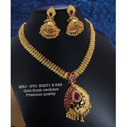 Blue,Wight Stones Mango Design Necklace For Bharatanatyam Dance And Temple Buy Online