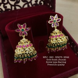 CZ,Black Stones Flower Design Gold Plated Finished Tops  Buy Online