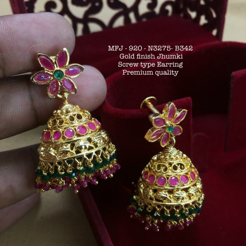 CZ,Emerald Stones With Pearls Drops Lakshmi Design Matte With Gold Plated  Earrings Buy Online