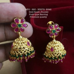 CZ,Ruby Stones With Pearls Drops Peacock Design Mat&Gold plat Finish Pendant Set Buy Online