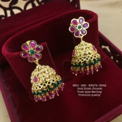 CZ,Ruby&Emerald Stones With Golden Balls Peacock Design Matte plat Finish Pendant Set Buy Online