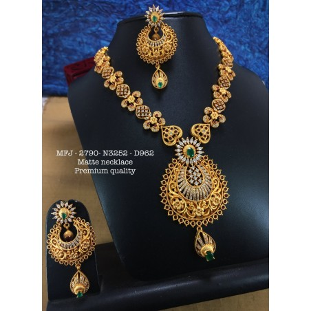 Ruby Stoned With Pearls Ganesh With Mango Design Matte Plated Finished Mini Haram Set Buy Online