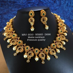 Ruby,Emerald Stoned Peacock With Lakshmi Design Mat Plated Finished Mini Haram Set Buy Online