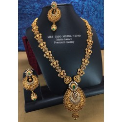 Ruby,Emerald Stoned With Golden Ball Peacock Design Mat Plated Finished Haram Set Buy Online