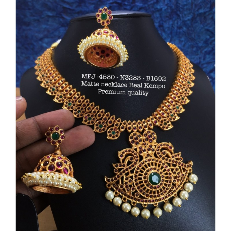 Ruby,Emerald Stones Pearls Chain& Peacock Design Gold Plat Necklace Set Buy Online