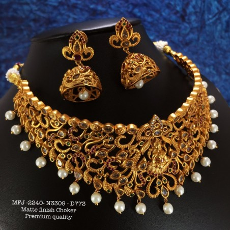 Ruby,Emerald Stones with Golden Balls Chain& Flower Design Gold Plat Necklace Set Buy Online