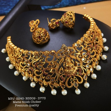 Ruby,Emerald Stones with Golden Balls Pearls Chain&Lakshmi Design Gold Plat 8 inch Necklace Set Buy Online
