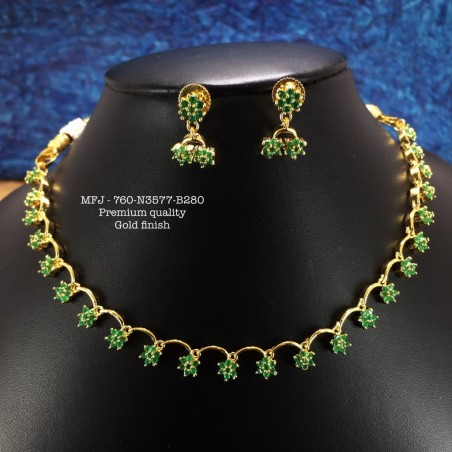 Green Stones With Pearls Peacock Design Necklace For Bharatanatyam Dance And Temple Buy Online