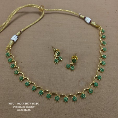 CZ,Ruby&Emerald Stoned Flower Design Gold Plated Finish Premium Quality Necklace Set Buy Online