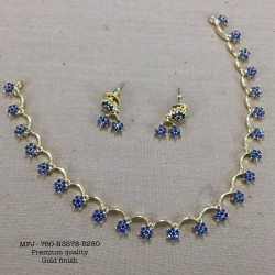 Blue Stoned Flower Design Gold Plated Finish Necklace Set Buy Online