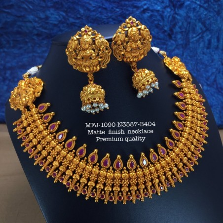 Ruby Stoned With Pearls Lakshmi,Peacock With Four Layer Design Mat Plated Finished Haram Set Buy Online