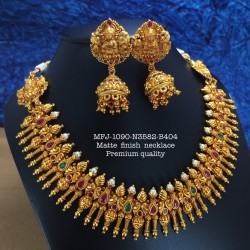 CZ,Ruby&Emerald Stones Ram Parivar Peacock Jumka Design Gold Plated Finish Chocker Necklace Set Buy Online
