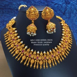 CZ,Ruby&Emerald Stones With Pearls Ram Parivar Flower With Hanging Design Gold Plated Finish Necklace Set Buy Online