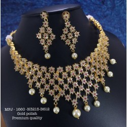 CZ,Ruby&Emerald Stones Ram Parivar Peacock Hanging Design Gold Plated Finish Necklace Set Buy Online