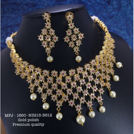 CZ,Ruby&Emerald Stones With Pearls Ram Parivar Peacock Earring Design Gold Plated Finish Necklace Set Buy Online