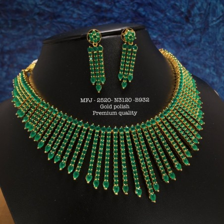 Ruby,Emerald Kempu Stones Three Layer Chain With Lakshmi And Push Type Earring Design Gold Plat Haram Set Buy Online