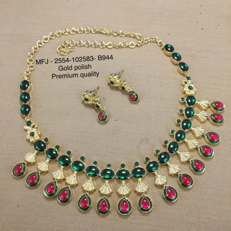 CZ,Ruby& Emerald Stones Coin Ramparivar Peacock Hanging Design Gold Plat Haram Set Buy Online