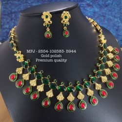 CZ,Ruby& Emerald Stones With Pearls AD Four Lined Balls,Hanging Design Gold Plat Haram Set Buy Online