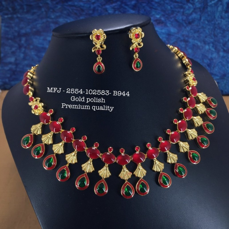 CZ,Ruby& Emerald Stones With Pearls AD Three& Four Lined Balls,Hanging Design Gold Plat Haram Set Buy Online