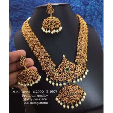 CZ,Ruby& Emerald Stones With Pearls Ram Parivar Peacock Hanging Design Gold Plat Ad Haram Set Buy Online