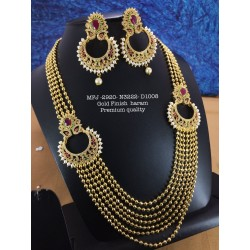 High Quality Kemp stone Pearls Moon Design Gold finish Necklace  Buy Online