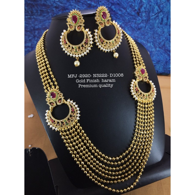 Kemp stone With Pearls Green Beats With Kemp Balls Design Gold finish Necklace  Buy Online