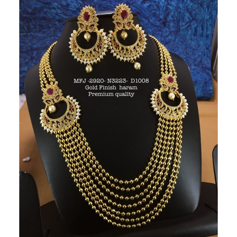 High Quality Kemp stone With Pearls Moon Design Gold finish Necklace  Buy Online