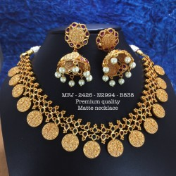 Kemp stone With Pearls  Mattle Pendent Designed Gold Plated finish Haram Set Buy Online