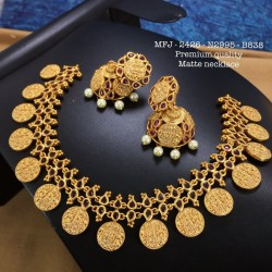 CZ,Ruby&Emerald Stones With Pearls Ram Parivar Hanging Design Gold Plated Finish Necklace Set Buy Online