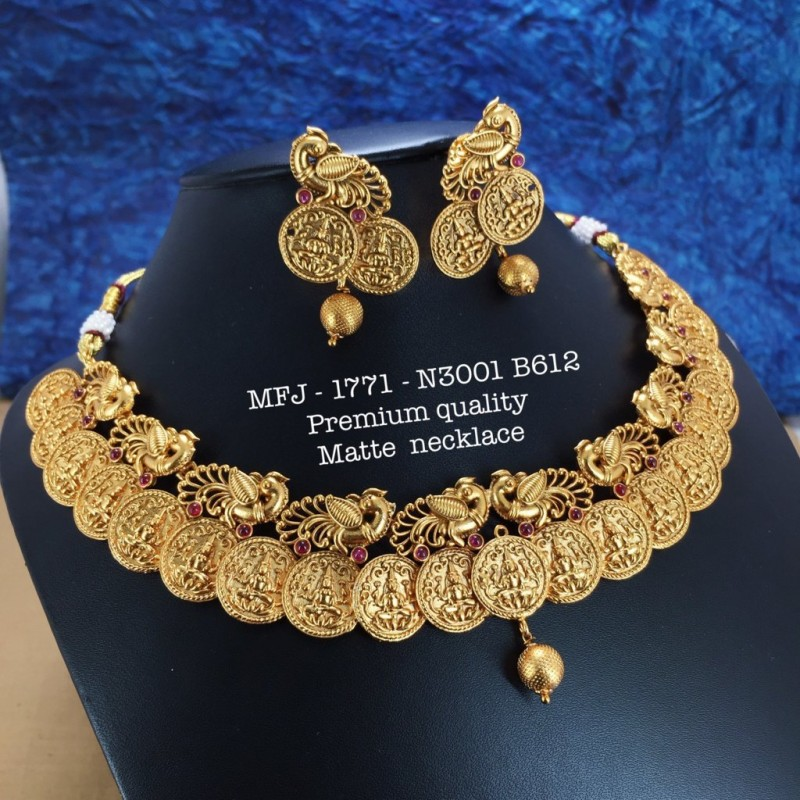 Red Stones With Pearls And Red&Green Beats Flower Designed Gold Plated finish Necklas Set Buy Online