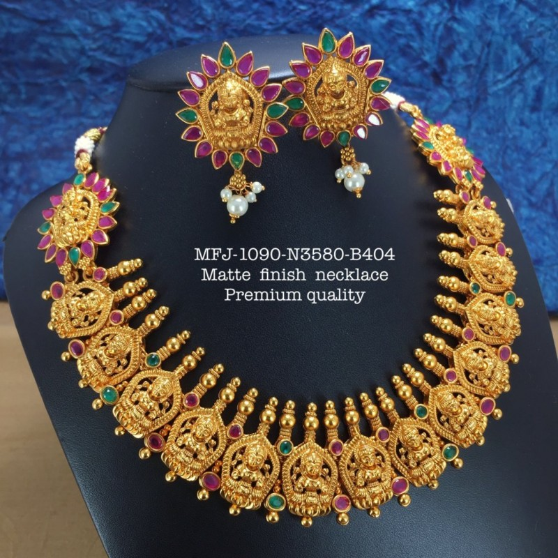 Red,Green Stones With Pearls Matte Two Lined Balls Chain Designed Gold With Matte Plated finish Haram Set Buy Online